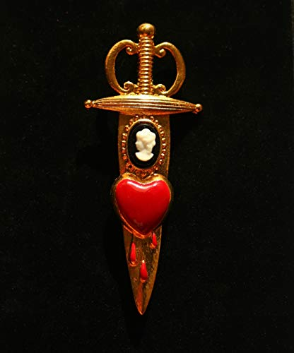 Victorian style cameo dagger red bleeding heart gold tone Brooch by Inga Engele USA 3 1/2