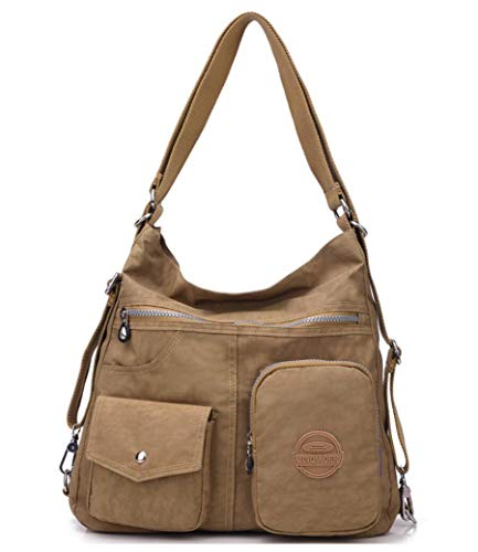 Backpack Bag Water resistant for Multipurpose Handbag Handle Shoulder Fashion Nylon Women Khaki Travel Purse Top dvZF5xF