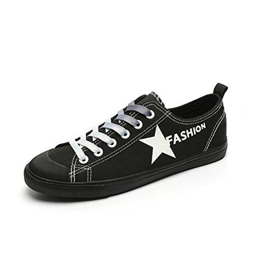 Zapatos de Tabla de Zapatos de Mujer 2018 Zapatos de Lona de Estudiante Verano Zapatos Bajos de Mujer Zapatos cómodos de Tabla de Damas Respirables (Color : Negro, tamaño : 35)