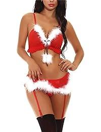 Women Lace Lingerie Red Christmas Chemise Babydoll Sleepwear