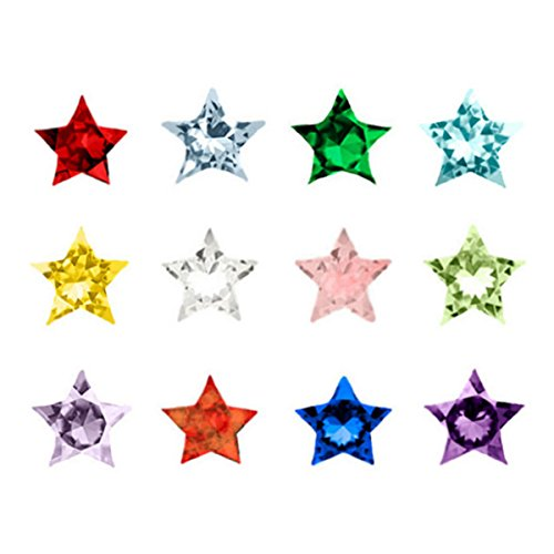 Jewelry Monster Pack Of 12   Assorted Mix Stars Birthstone Crystal   For Floating Charm Lockets 002