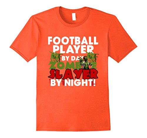 Mens Funny Halloween Tee Shirts Football Player Zombie T Shirt 2XL Orange