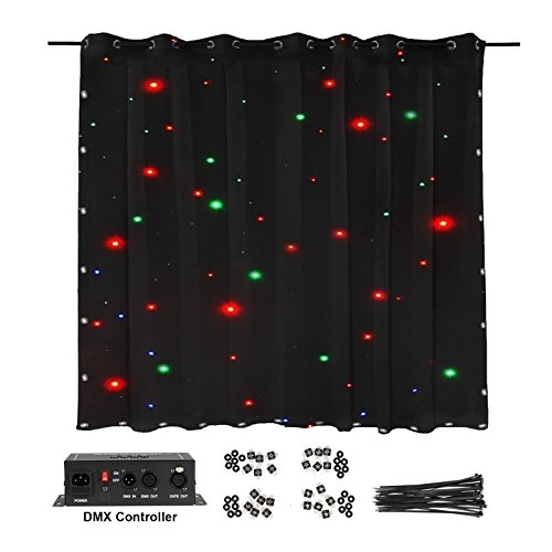 eoere LED Stage Drape Starry Sky Cloth 2x3m Starlit Curtain Backdrop Background Screen Flame Retarded DMX Controller Star Lighting for Wedding Christmas Party Club Show