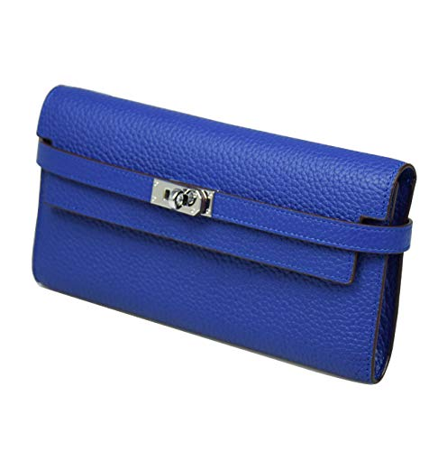 Padlock Trifold Blue Wallets Leather Genuine Women's Electric Esyuel 7zqfpA