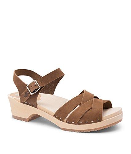 (Sandgrens Swedish Wooden Low Heel Clog Sandals for Women | Rio Grande Dexter Tan, EU 41)