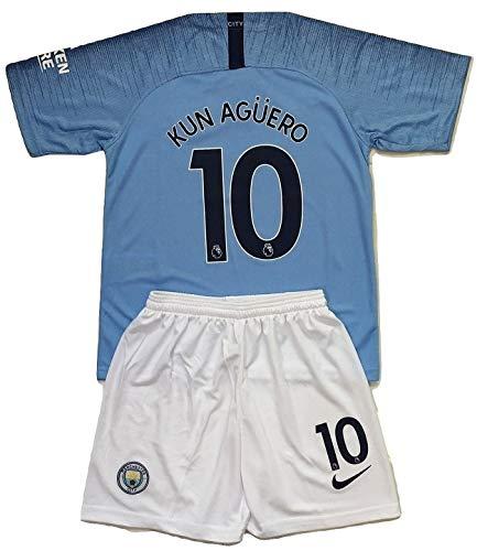 City Home Shirt - Gadzhinski2017 Kun Aguero #10 Manchester City 2018-2019 Kids/Youths Home Soccer Jersey & Shorts (11-13 Years Old)