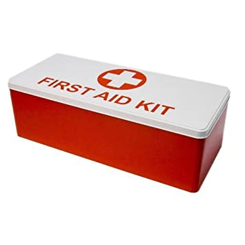 Erste-Hilfe-Box (leer) FIRST AID KIT, Metall, rot: Amazon.de: Küche ...