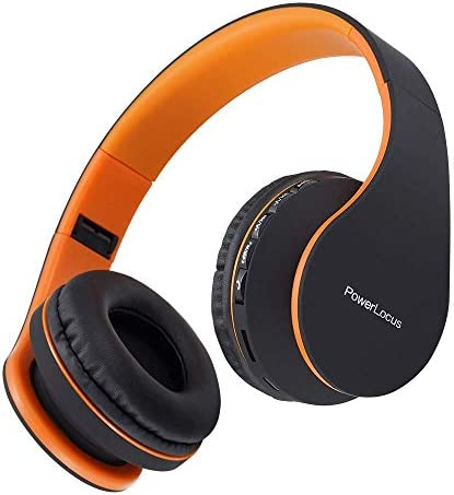 PowerLocus Wireless Bluetooth Over-Ear Stereo Foldable Headphones, Wired Headsets with Built-in Microphone for iPhone, Samsung, LG, iPad (Orange) 41aKdpQRyNL