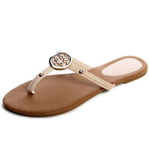 topschuhe24 Damen Sandalen Zehentrenner Beige