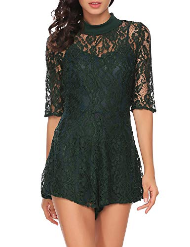 Zeagoo Women's Half Sleeve Waist Ruffles Hem Lace Romper Playsuit Dark Green S