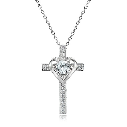 - Sterling Silver Light Aquamarine and White Topaz Heart in Cross Necklace for Women Girls