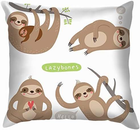 Set Sloths Funny Cute Lazy Animals Wildlife Sloth The Arts Soft Cotton Linen Cushion Cover Pillowcases Throw Pillow Decor Pillow Case Home Decor 24X24 Inch