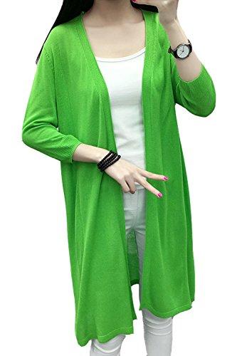 Lisa Pulster レディース ロング ニット カーディガン ニット セーター 無地 冷房対策 7分袖 薄手 羽織れる ゆったり UVカット 伸縮性 大きいサイズ 春 秋 夏