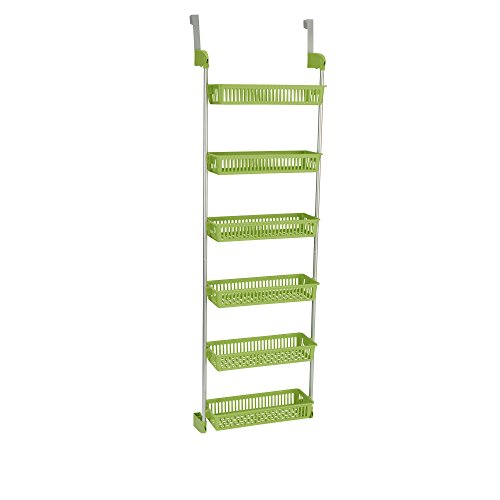 Household Essentials 6-Tier Basket Over-The-Door Organizer, Lime (Over Shelf The Door)