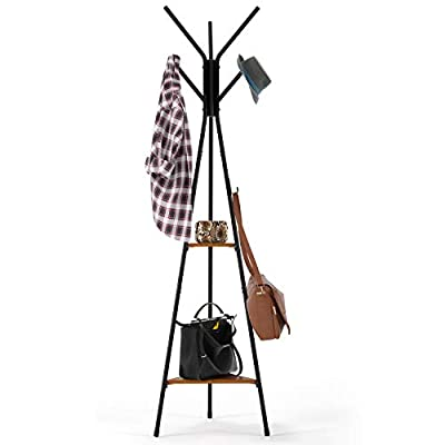 Homfa Coat Rack Stand 71 inch with 9 Hooks and 2-Tier Storage Shelves, Free Standing Industrial Hall Tree Clothes Hanger for Hat, Bag, Accent Metal Frame Vintage - 【Selected Material】 - Crafted from particle board and iron frame. This triangle coat stand with hooks and shelves is super sturdy, stable, loadable, and eco-friendly. An essential storage master and decent furniture. 【Vintage Design】 - This coat rack features elegance, durability, simplicity. Stylish structure gives your home a new look.Retro color makes it perfectly match with any scheme or tone style, which makes your home upgrade a grade! 【Space Saving】 - Taking up minimalist space but offers you a enough storage room to a large extent. You can put it in the corner as a warm scene to place flowers and plants, nesting in the room and breathing fresh air. - entryway-furniture-decor, entryway-laundry-room, coat-racks - 41aKenJneDL. SS400  -
