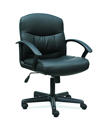 HON Sadie Mid-Back Task Chair- Fixed Armed Computer Chair for Office Desk, Black Leather (HVST303) For Sale