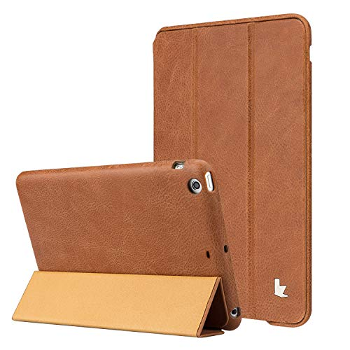 Vintage Dark Brown Leather - Jisoncase Vintage Genuine Leather Smart Cover Case for iPad mini 3 & iPad mini 2 & iPad mini, JS-IM2-01A20-Brown