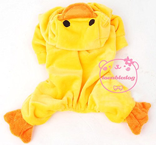 (SMALLLEE_Lucky_Store Pet Cat Dog Yellow Duck Hoodie Velvet Pajamas Jumper Small Dog Clothes Costumes)