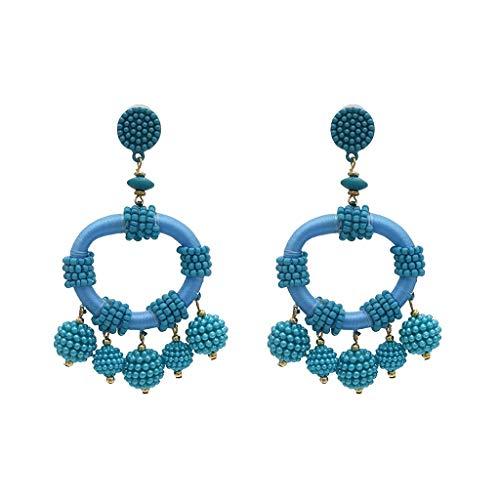 Dangling Earrings Handmade (MONISE- Jewelry Rice Beads Beaded Chandelier Dangle Drop Earrings for Women Girls,Handmade Beaded Earrings Bohemian Statement Drop Bead Earrings with Hypoallergenic Steel Post (C))