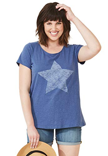 Star Womens Tee - Ellos Women's Plus Size Love Tee - Royal Navy Star, 1X
