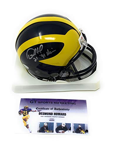 da6a6c33977 Desmond Howard Michigan Wolverines Signed Autograph Mini Helmet Heisman  Inscribed GTSM Howard Hologram   COA