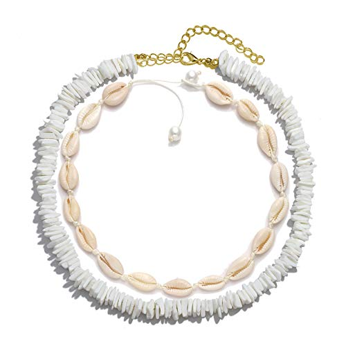 - VUJANTIRY Shell Choker Necklace for Women Hawaiian Seashell Pearls Choker Necklace Statement Adjustable Puka Shell Necklace Set (Shell&Pearls Choker #4)