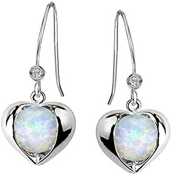 Star K Sterling Silver Round 6mm Heart Hook Earrings