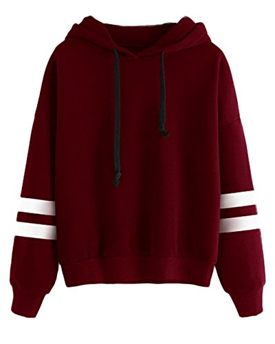 Cool Kids Sweatshirt - Women Girl Long Sleeve Hoodie Sweatshirt Simple Style Solid Color Hooded Pullover Tops Casual Blouse Sweater for Fall Winter, Red, L (Bust: 112cm/44.1 inch )