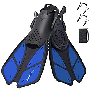 Well-Being-Matters 41aKh2%2Bc-qL._SS300_ OMGear Swim Fins Snorkel Fins Short Diving Fins Swim Flippers Open Heel Adjustable for Lap Swimming Snorkeling Diving…