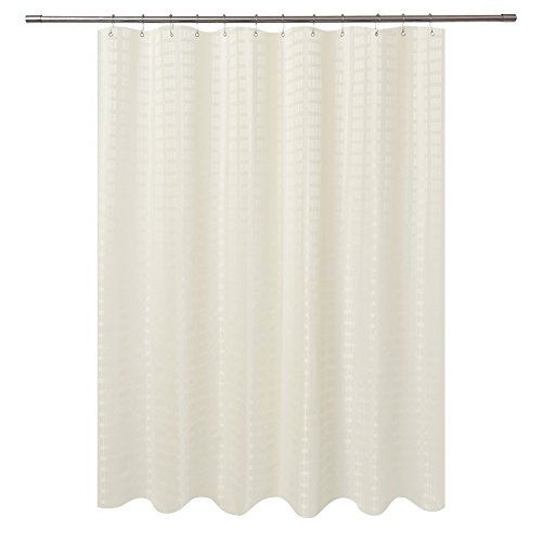 Barossa Design Fabric Shower Curtain Cream Hotel Grade, Water Repellent and Machine Washable, 71 x 72 inches Brick Dobby Pattern for ()