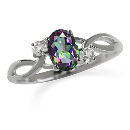 Topaz 925 Sterling Silver Engagement Ring Size 6 ()