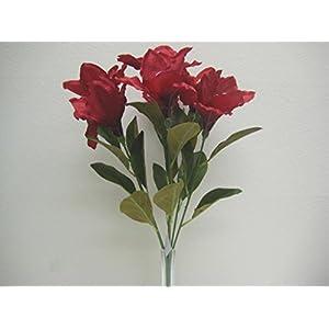 """Amaryllis Bush Satin Artificial Flowers 23"""" Bouquet 7-781 26"""