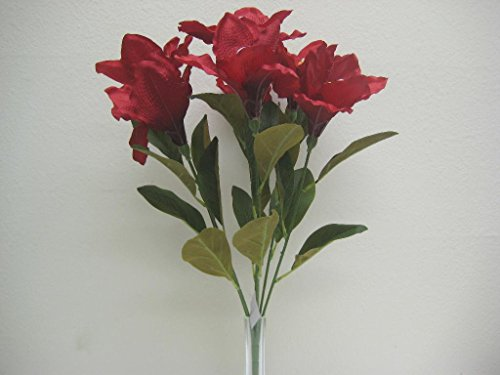 BURGUNDY RED Amaryllis Bush Satin Artificial Flowers 23