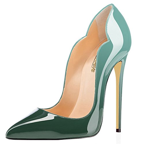 Women's High Heels Stilettos Shoes Evening Wedding Cute Toe Sexy Point Emerald Pumps Leather Dress Patent Modemoven ITxwqUdU