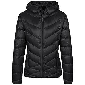Wantdo Women's Lightweight Packable Puffer Down Coats, Black, Large
