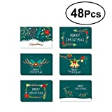 Toyvian 48pcs Creative Green Christmas Themed Greeting Card Cute Patterns Thank You Card Envelopes Birthday Wedding Christmas