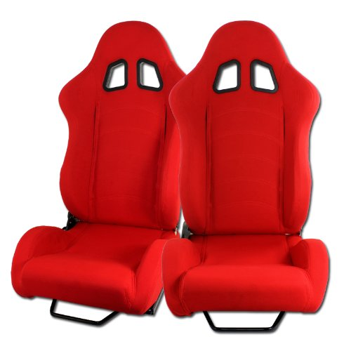 (2 x Red T1 Style Red Universal JDM Reclinable Cloth Racing Seats)