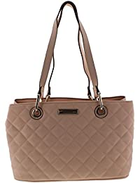 Womens Tina Faux Leather Quilted Satchel Handbag