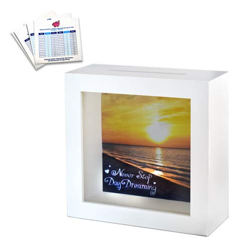Travel Fund Shadow Box Bank - Shadow Box Bank with Slot | Wall Decor Home Decor White Wooden Shadow Box Piggy Bank with 3 Bonus Saving Ledgers Included -