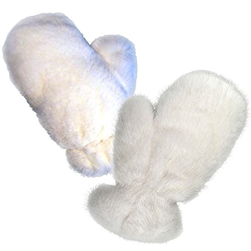 MinkgLove Combination Massage Glove, Mink and Rex Rabbit, Alternating Sensations Silky Smooth and Velvety Soft, White, Hand Tailored, Unisex - Double Sided Fur by MinkgLove