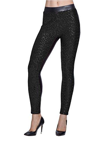 Lotsyle Women's Faux Leather Shiny Sequins Party Footless Leggings Pants (L, Black1)