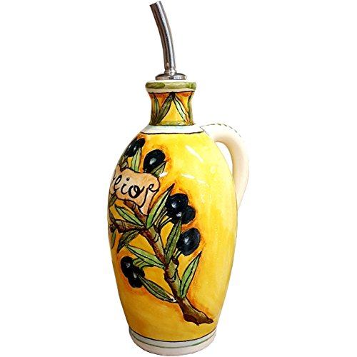Painted Italian (CERAMICHE D'ARTE PARRINI - Italian Ceramic Art Pottery Oil Cruet Bottle Hand Painted Decorated Olives Made in ITALY Tuscan)