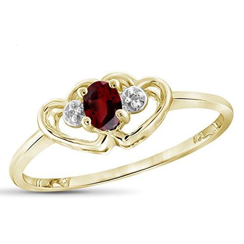 Jewelexcess 0.20 CTW Genuine Garnet Gemstone & Accent White Diamond Ring in 14k Gold Over Silver