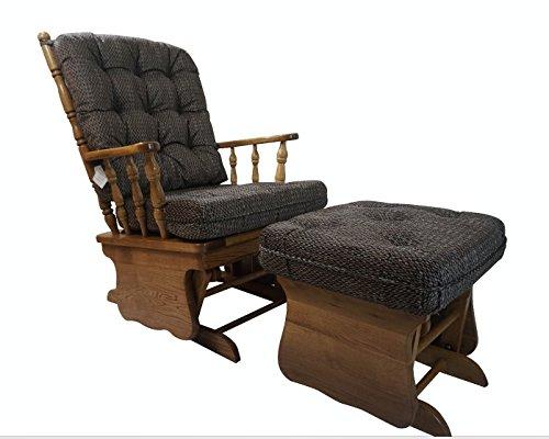 Solid Oak Glider Rocker Chair w/ Ottoman w/