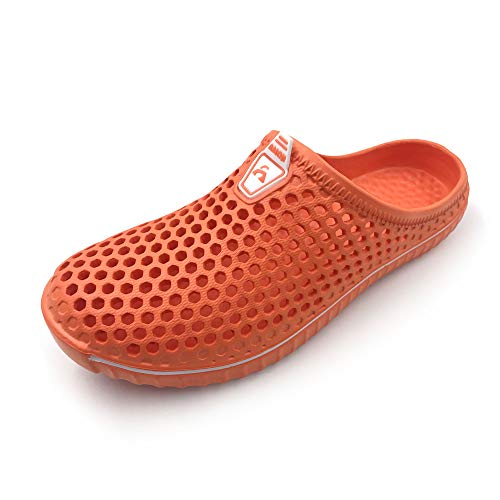 (Amoji Slippers Garden Clogs Shoes House Indoor Room Sandals Outdoor Outside Shower Crocks Summer Breathable Ladies Adult Female Girl Boy AM1702 Orange 7US Women/6US Men)