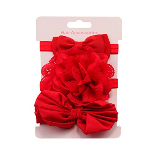 Clearance! 3pcs Baby's Headbands Girl's Cute Hair Bows Hair Bands Newborn Headband (Red) by Bookear (Image #1)