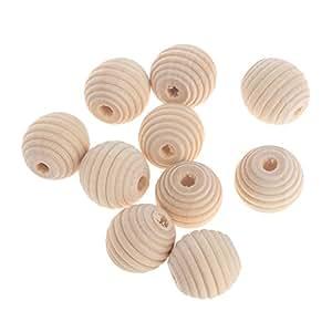 A0127 - Perlas redondas de madera para abejas, 18 mm, sin ...