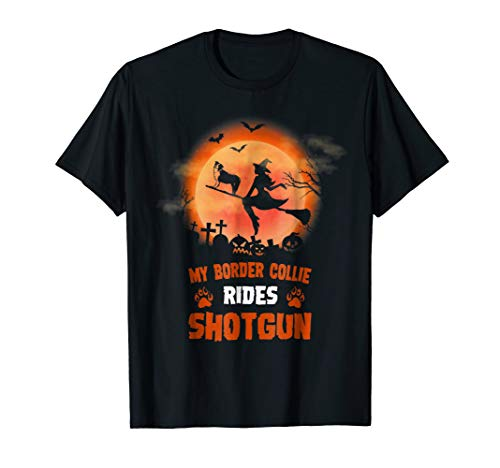 My Border Collie Rides Shotgun Halloween Shirt