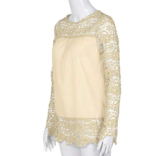 Women Plus Size Hollow Out Lace Splice Long Sleeve Shirt Casual Blouse Loose Top(Beige,Medium) by iQKA (Image #3)