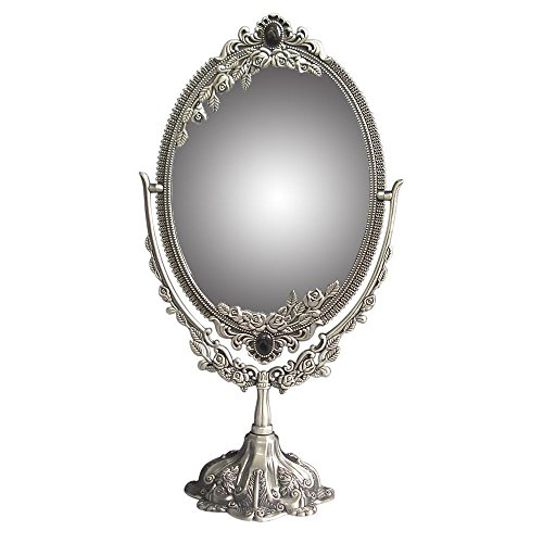 KINGFOM Antique Two Sided Swivel Oval Desktop Vanity Makeup Mirror with Embossed Roses and Mounted Beads for Home, Jewelry or Watches Cosmetics Showcase (Antique Pewter, Large)